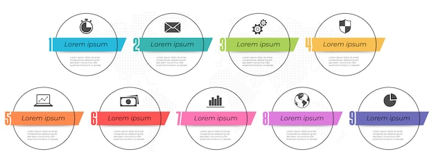 Infographic elements template with number 9 options.