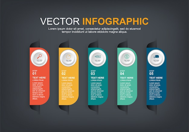Infographic elements with 5 options