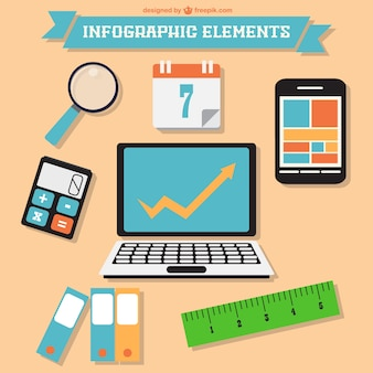 Infographic elements with computer, calendar and ruler