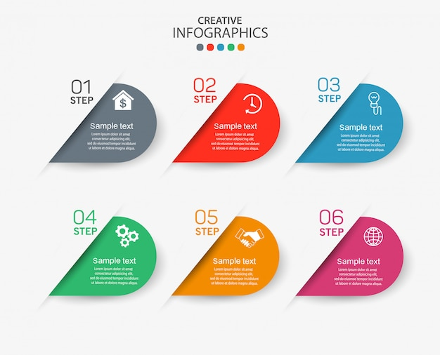 Infographic elements with icons and 6 options or steps