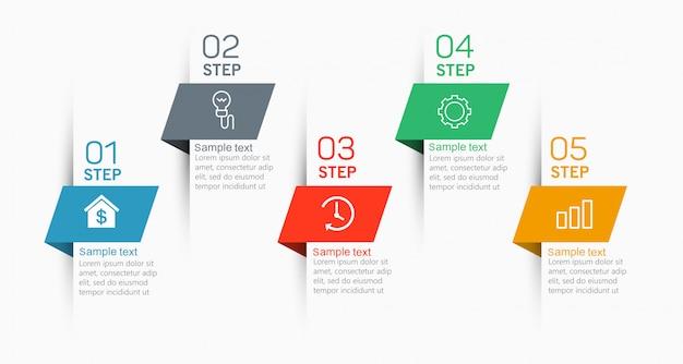 아이콘과 5 가지 옵션 또는 단계가있는 인포 그래픽 요소