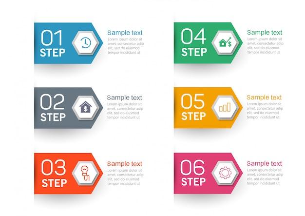 Инфографические элементы с иконками и 6 вариантами или шагами