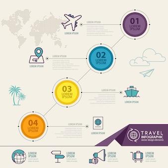 旅行アイコン付きのインフォグラフィック要素