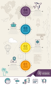Infographic elements with travel icons