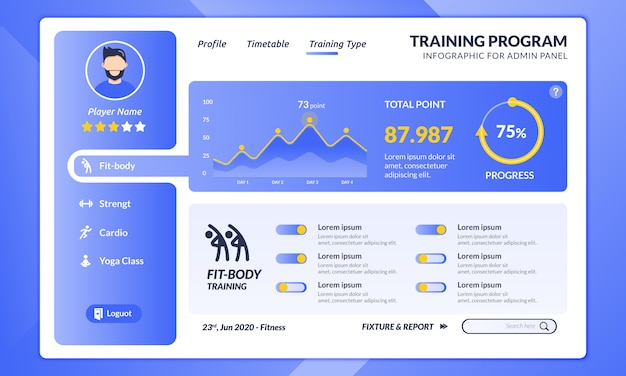 Infographic fitness training program on the landing page template