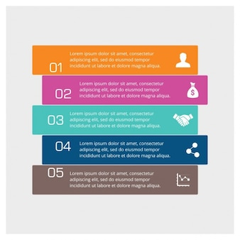Infographic five step full color
