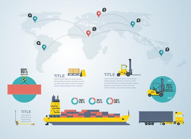 Инфографика для логистики и транспортной отрасли Premium векторы