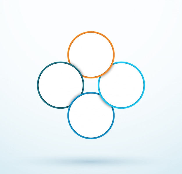 Infographic four circle diagram linked segments