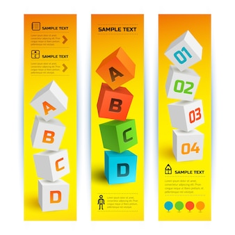 Infographic geometric vertical banners with 3d squares