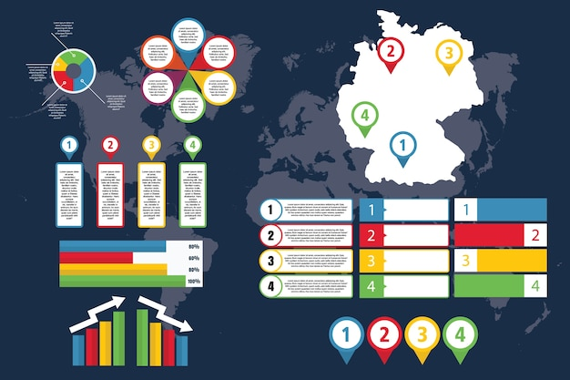 Infographic of germany with map for business and presentation
