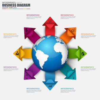 Infographic global business vector design template.