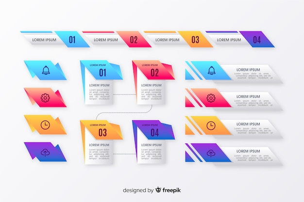 Infographic gradient element collection