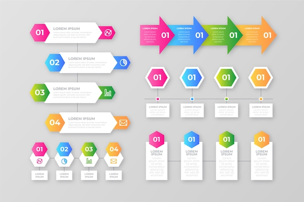 Infographic gradient elements