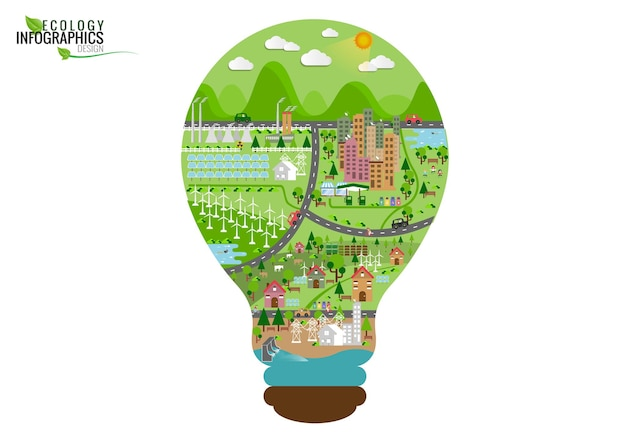 Infographic green ecology city and renewable energy concept. flat illustration.