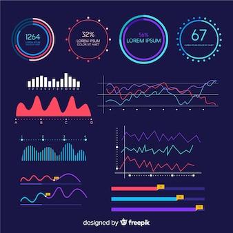 Шаблон панели инфографики роста