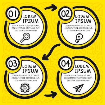 フローチャートのインフォグラフィック手描き要素。手描きの4つの円。