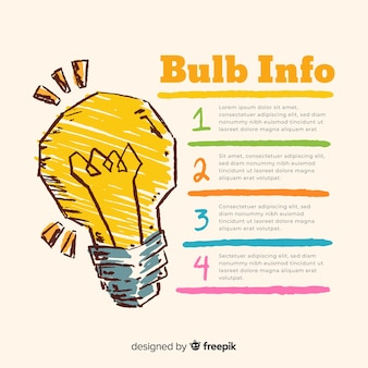 Infographic hand drawn light bulb background