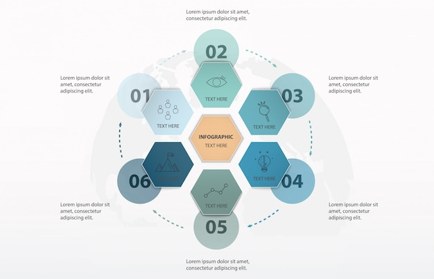 Infographic hexagon 6 option or steps and world background. blue color concept.