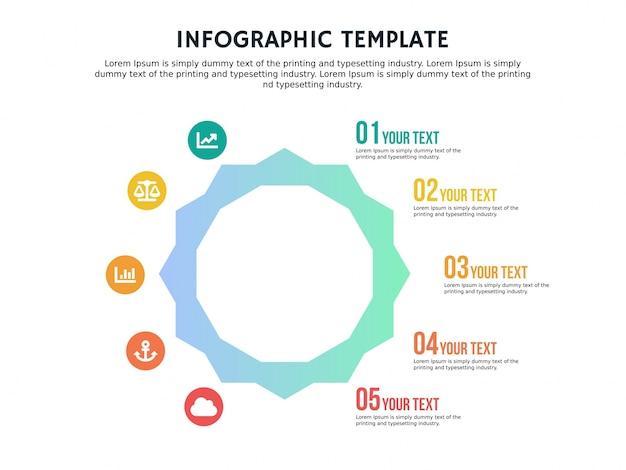 Infographic 6 각형 템플릿 스마트 플랫 및 파워 포인트