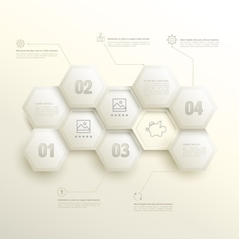 Infographic hexagons with number options