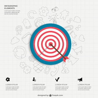 Infographic icons and bullseye
