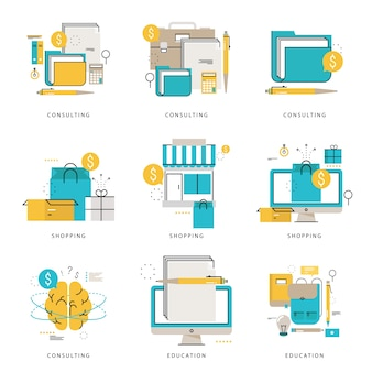 Infographic icons collection for business and financial consulting, e-learning, online education, online shopping, e-commerce vector illustration. line icons set. flat design web graphic elements