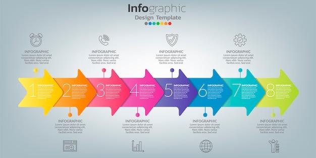 8つのオプション、ステップ、またはプロセスを備えたビジネスコンセプトのインフォグラフィック。