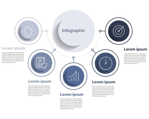 インフォグラフィック情報5ステップ、タイムライン、世界地図
