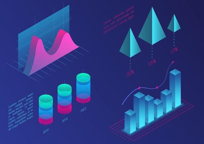 インフォグラフィック等尺性グラフ要素。データとビジネスの財務図グラフ。統計データ。プレゼンテーション、販売バナー、収入レポートのデザイン、ウェブサイトのグラデーションカラーテンプレート。