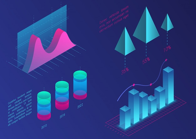 Infographic isometric  graph elements. data and business financial diagrams graphs. statistic data. gradient color template for presentation, sales banner, income report design, website.