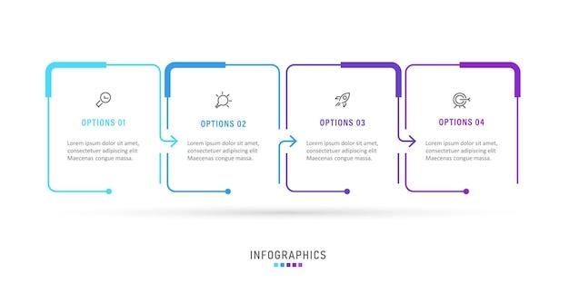4つのオプションまたはステップを備えたインフォグラフィックラベルデザインテンプレート。