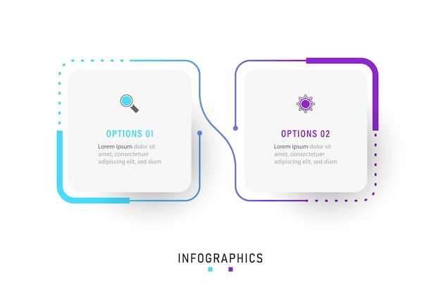 Infographic label design template with icons and 2 options or steps