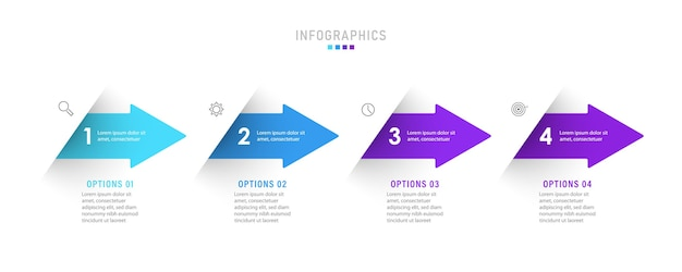 Infographic label design template with icons and 4 options or steps.
