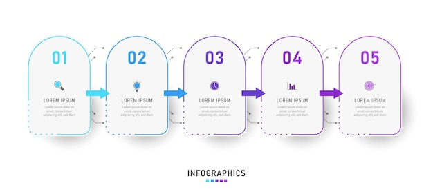 Infographic label design template with icons and 5 options or steps