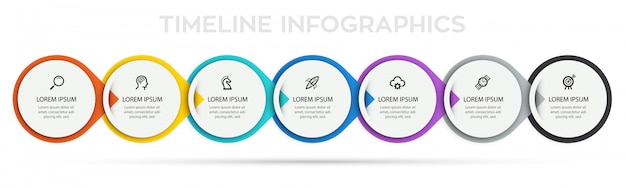 Infographic label design template with icons and 7 options or steps.