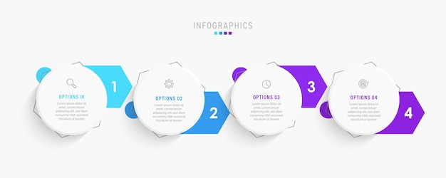 아이콘 및 4 가지 옵션 또는 단계가있는 infographic 라벨 디자인 템플릿.