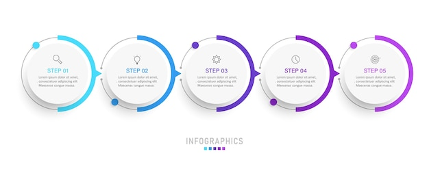 アイコンと5つのオプションまたはステップを含むインフォグラフィックラベルデザインテンプレート。