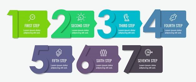 7 가지 옵션 또는 단계가있는 인포 그래픽 라벨 디자인. 비즈니스 개념에 대한 인포 그래픽.