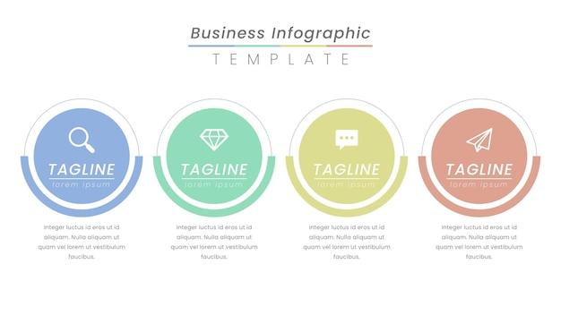 アイコンと4つのオプションまたはステップを備えたインフォグラフィックラベルデザイン。