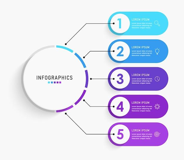Шаблон ярлыка инфографики с иконами и вариантами или шагами.