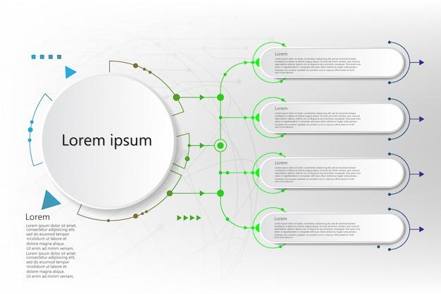 アイコンと5つのオプションまたは手順を持つインフォグラフィックラベル。ビジネスのためのインフォグラフィック