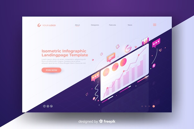 Infographic landing page isometric