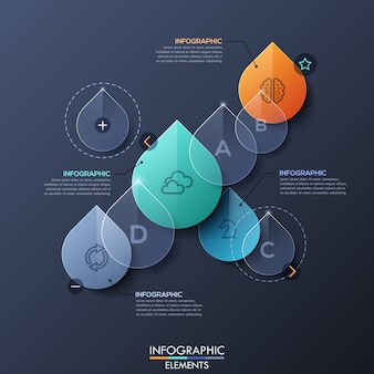 Infographic layout with transparent water drops
