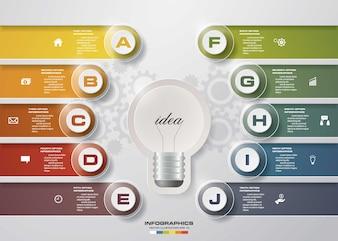 Infographic light bulb idea design template 10 options.