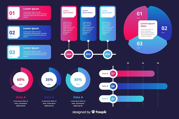 Infographic marketing charts collection template