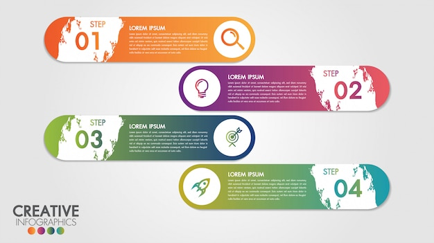 Infographic modern design vector template for business with 4 steps or options