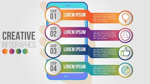 インフォグラフィックモダンなスマートフォンアプリケーションビジネスコンセプトデザインベクトルテンプレート4ステップ