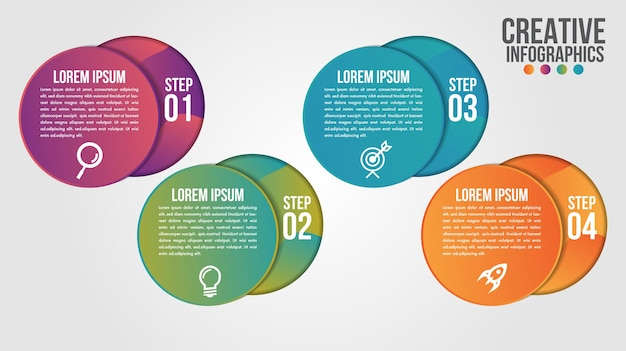 Infographic modern timeline design template for business with 4 steps or options