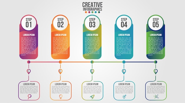 Infographic modern timeline design template for business with 5 steps or options
