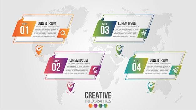 Infographic modern timeline design template for business with  steps or options illustrate